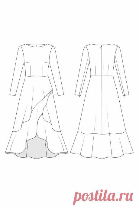 Платье 0420 — выбрать размер (от 38 до 54) и скачать выкройку в интернет-магазине LaForme: большой ассортимент актуальных моделей выкроек одежды для женщин.