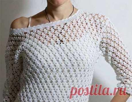 Изумительный узор для вязания крючком ажурных пуловеров, туник, жакетов