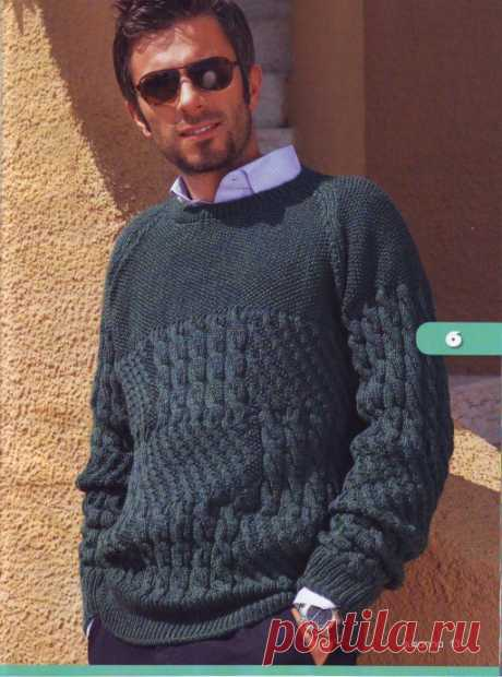 Мужской пуловер реглан из категории Интересные идеи – Вязаные идеи, идеи для вязания
