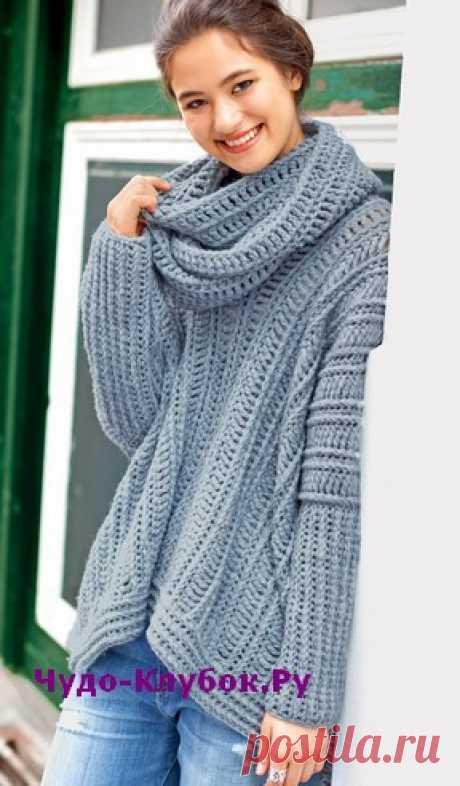 Теплый пуловер в крупную резинку с шарфом-петлей вязаный крючком 1841 | ✺❁сайт ЧУДО-клубок ❣ ❂✺Теплый пуловер в крупную резинку вяжется крючком поперек единым полотном без плечевых швов. Рельефные столбики создают модную резинку. РАЗМЕРЫ 36/40 ❂ ►►➤6 000 ✿моделей вязания ❣❣❣ 70 000 узоров►►Заходите❣❣ %