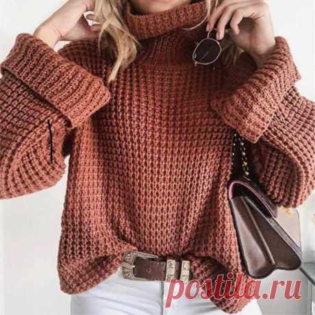 Вязаный свитер вафельным узором, схема с выкройкой