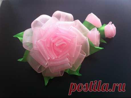 Украшение на заколку Канзаши / Роза с бутонами из органзы