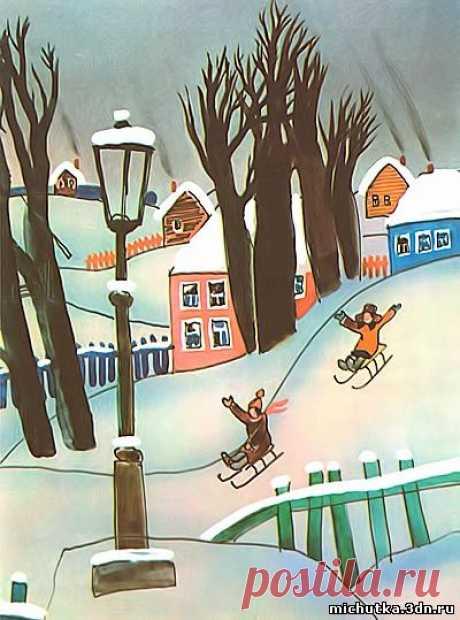 Занятие 14. Зимний пейзаж (Рисование кистью. Гуашь) - РИСОВАНИЕ С ДЕТЬМИ 4-5 ЛЕТ - ИЗОБРАЗИТЕЛЬНОЕ ИСКУССТВО - Каталог файлов - МИШУТКИНА ШКОЛА