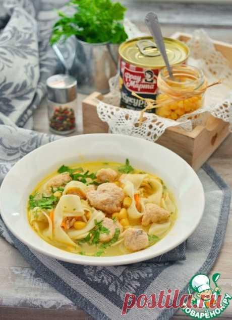 Суп-лапша с кнелями из горбуши Кулинарный рецепт