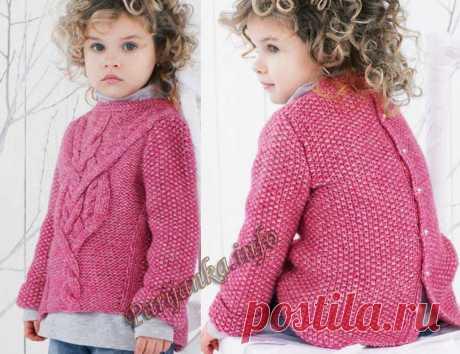 Для юных модниц от 4-х до 16-ти лет: пуловер спицами (Франция).