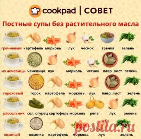 Подборка постных супов без масла. Сохраняйте в закладки и не забывайте ставить ️ ⠀ Гречневый суп Картофель - 2 шт. Морковь - 1 шт. Лук - 3 шт. Чеснок - 1/2 головки Гречка - 1/2 ст. Зелень Соль, перец ⠀ Овощи отварить как обычно, на хорошем огне. Когда будет готов картофель, ввести гречку. Варить до готовности крупы. ⠀ Суп из чечевицы: Чечевица - 500 г Лук - 2 шт. Чеснок Лавровый лист Зелень Соль, перец ⠀ Варить чечевицу с овощами 3 ч., часто помешивая. Посолить, поперч