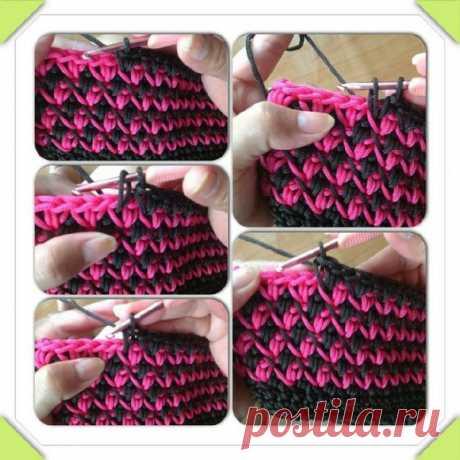 Интересный двухцветный узор #крючок #узор_вязания - Рукоделие