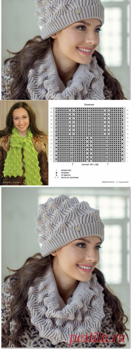 Комплект: шапка и снуд красивым узором спицами. Шапка landre Элиза спицами мастер класс