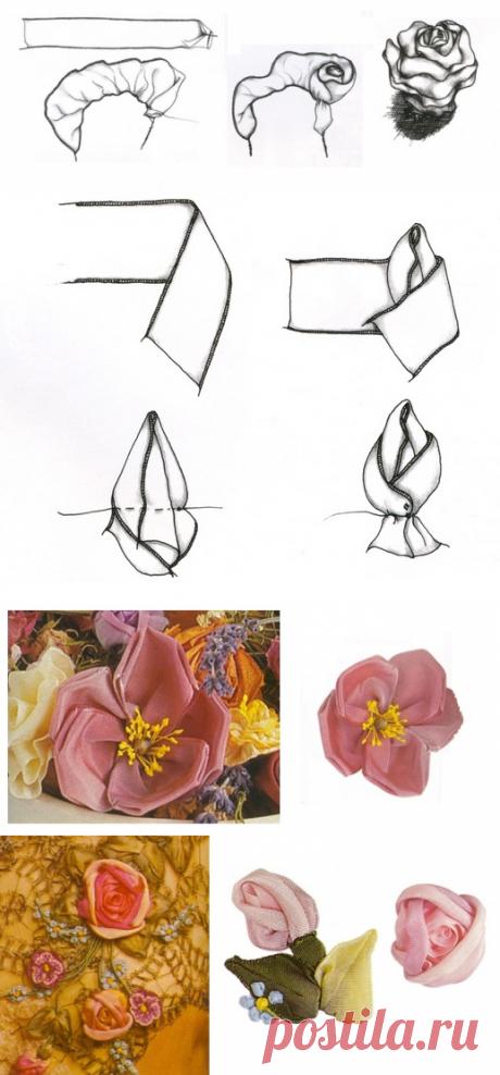 Пять видов роз из лент / Цветы из лент и ткани / В рукоделии