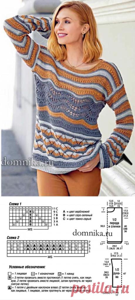 Пуловер спицами с элементами техники Миссони. (12) Facebook