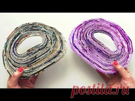 DIY Плетеная корзинка из газетных трубочек | Поделка из газеты