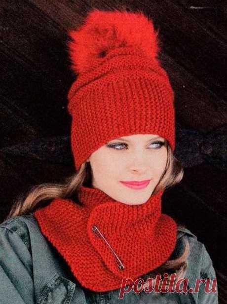 Объемная шапка с меховым помпоном и шарф спицами - Портал рукоделия и моды