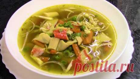 Очень вкусный Овощной суп с крабовым мясом в азиатском стиле. Постный рецепт.