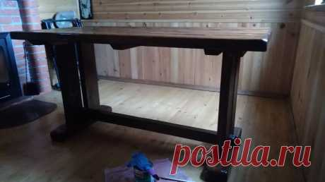 Сделали на дачу массивный стол под старину из подручных материалов. Выяснилось, что это несложно | Посад | Яндекс Дзен