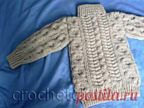 Арановый джемпер для мальчика Арановый джемпер для мальчика, связанный крючком из мериносовой шерсти