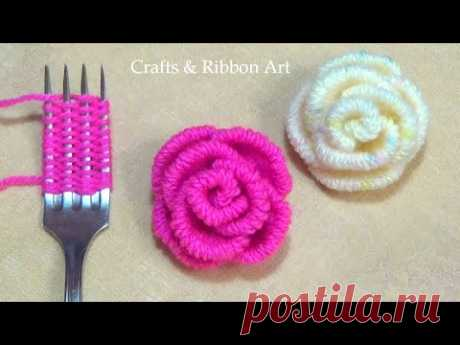 Amazing Trick with Fork - Easy Woolen Rose Making - Hand Embroidery Hack - DIY Woolen Flowers
