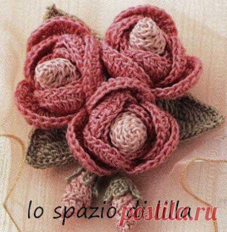 lo spazio di lilla: Bouquet di roselline con boccioli all'uncinetto, con schema\/Crochet rosettes, free charts