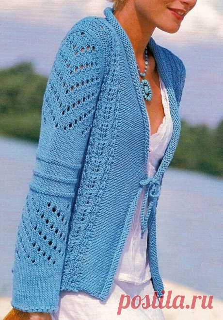 Красивый летний жакет с ажурным узором, связанный спицами | Идеи рукоделия | Яндекс Дзен