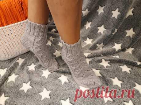 Свяжем Спицами Красивые  Тёплые Носки с Ажурной Дорожкой, Подробный МК #вязание#носки спицами