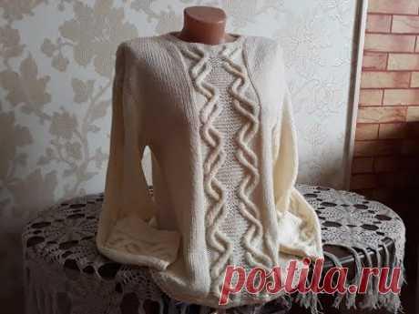 Пуловер с аранами спицами. Часть 11. Фотоальбом.