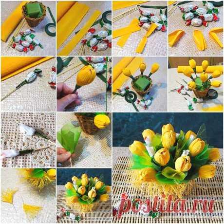 Еще одна простая и яркая идея букета из конфет своими руками — Сделай сам, идеи для творчества - DIY Ideas