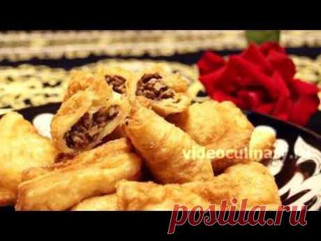 Frito hojaldrado samsa con la carne - Видеокулинария.рф - las video-recetas de la Abuela Ema
