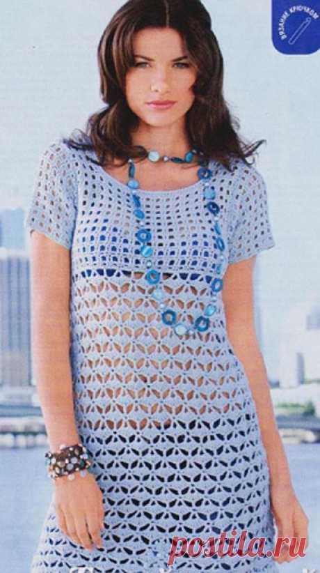 Туники крючком комбинированным узором с сеткой — 2 модели со схемами и описанием — Пошивчик одежды