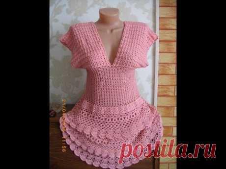 "Платье крючком (по мотивам ""Летисия"" Ванессы Монторо) // Knit crochet dress // Women's knitting"