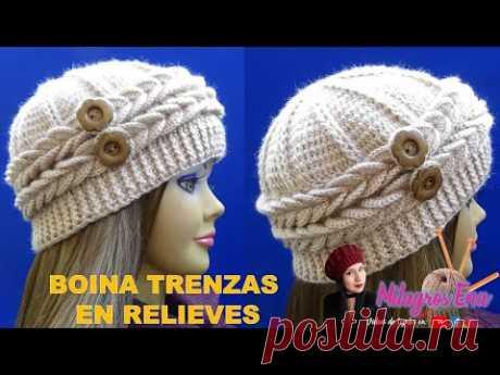 Boina con 2 trenzas en relieves y botones paso a paso para señoritas con lana delgada.
