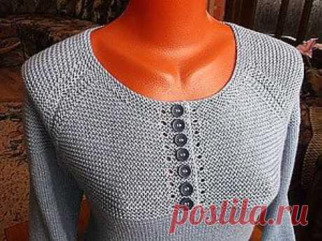 Обработка горловины при вязании платочной вязкой - Ярмарка Мастеров - ручная работа, handmade