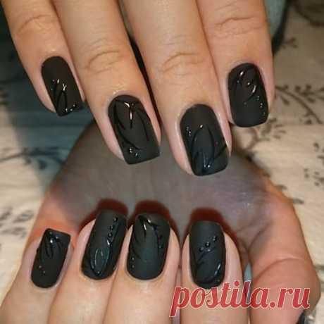 El gel-barniz negro - 75 fotos de la idea del diseño de las uñas