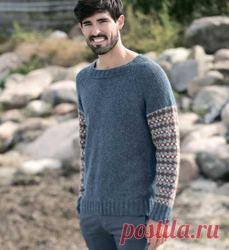 Стильный мужской жаккардовый свитер из категории Интересные идеи – Вязаные идеи, идеи для вязания