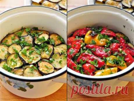 Вкусная закуска из маринованных баклажанов и перцев-гриль