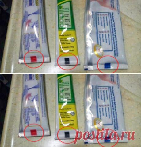 Цвет крадратика на зубной пасте имеет значение! Проверь, какого он цвета у тебя…