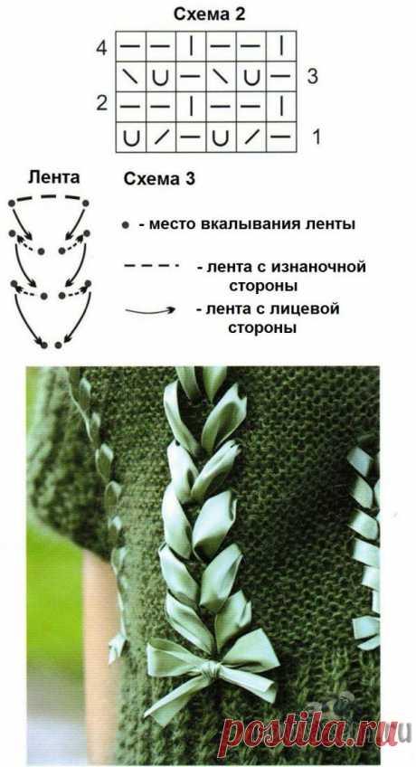 Женский свитер спицами украшенный косами из лент