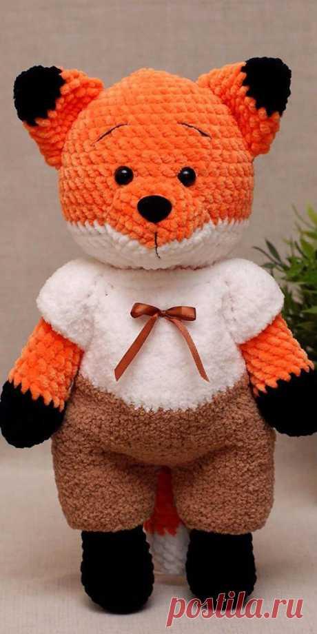 PDF Лисёнок крючком. FREE crochet pattern; Аmigurumi doll patterns. Амигуруми схемы и описания на русском. Вязаные игрушки и поделки своими руками #amimore - Лиса, лисица, лисёнок, лисичка.
