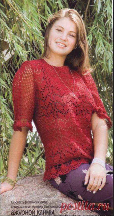 Красный пуловер с ажурной каймой крючком