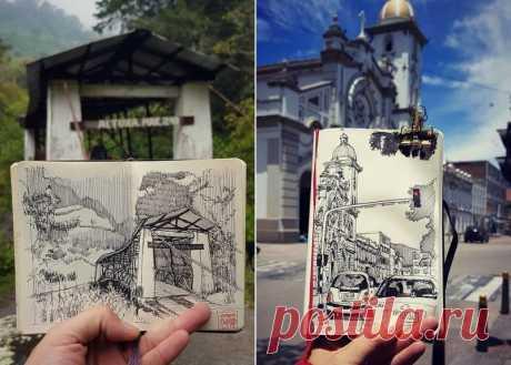Реальность, перенесенная на бумагу: невероятные скетчи архитектора из Колумбии Колумбийский архитектор Дэвид Моралес (David Morales) делает ошеломляющие зарисовки окружающего мира.
