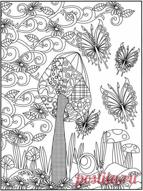 Эскиз витраж, сказочный лес бабочка с цветами лес