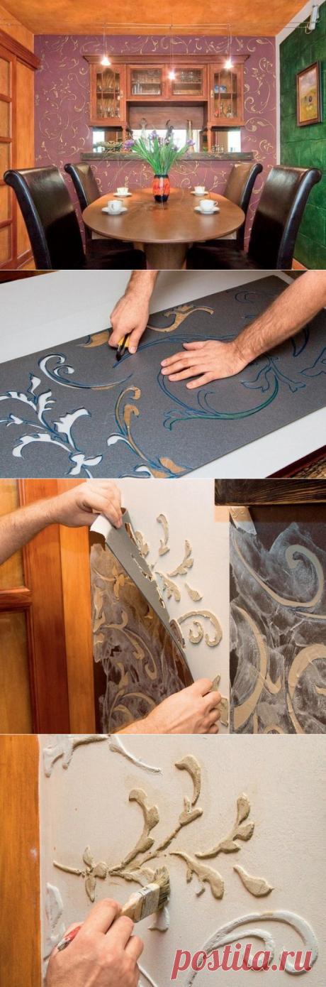 Объемный рельеф на стенах по трафарету, фрескорельеф