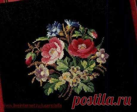 Вышивка крестом, схемы Розы викторианские, букет-мини