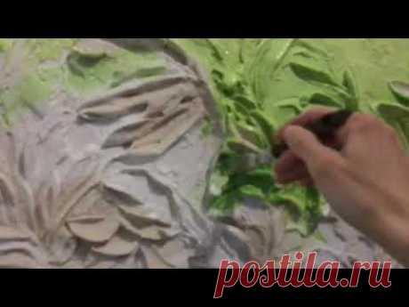 Роспись барельефа Зелень Первый этап / художник Наталья Боброва