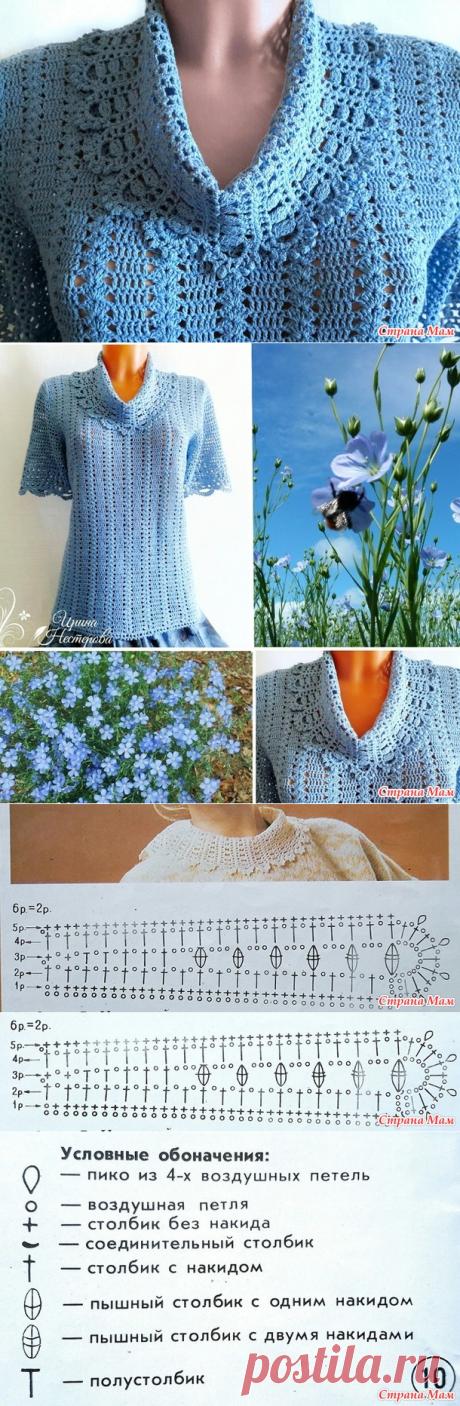 . Летняя кофточка из льна с ажурным воротником - Страна Мам вязание спицы и крючок