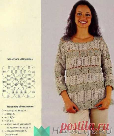 Летний пуловер крючком / Вязание крючком