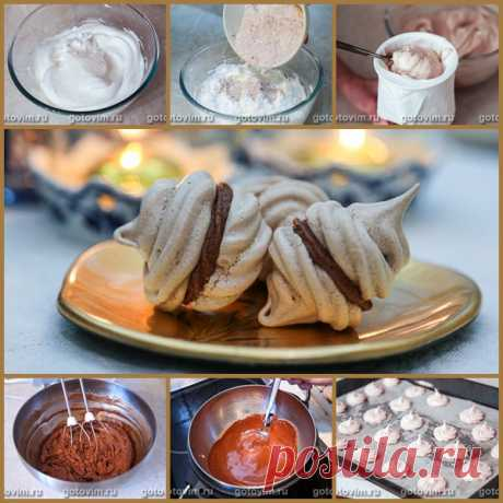 Шоколадные меренги с кремом шантильи