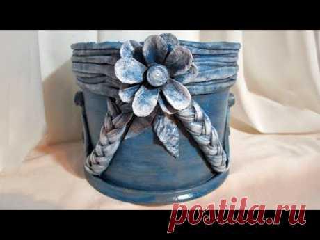 Горшок для цветов из пластикового ведерка