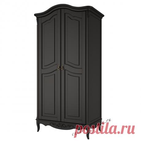 Распашной шкаф черный 2-х дверный из массива