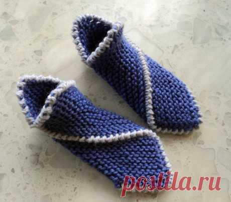 Тапочки спицами Чиполлино для всей семьи, мастер-класс!, Вязание для детей