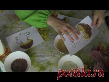 Аппликация гриба из круп (поделки с детьми)