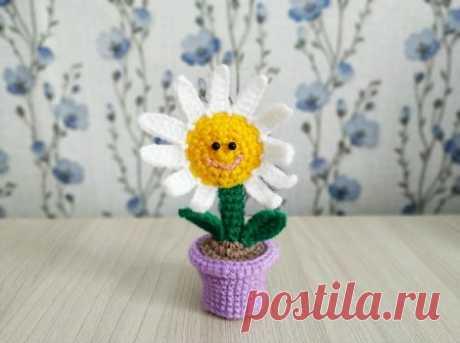 .Цветок в горшочке крючком описание вязания